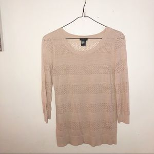 Long sleeve tan knit open cutout shirt
